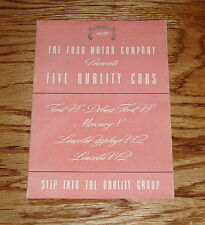 Original 1939 Ford Five Quality Cars Brochure Mercury Lincoln 39