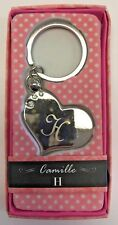 H INITIAL Camille heart silver color personalized KEYCHAIN BRAND NEW IN PACKAGE