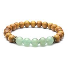 "Natural 8mm Sandalwood Beads Chakra Stones Braided Elastic Energy Bracelet Gift 04# Green Aventurine (7"" Stretchy)"
