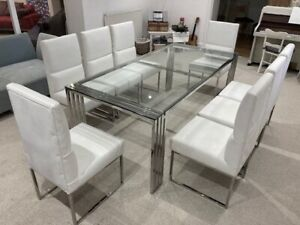 Kesterport Chrome and Glass Dining Table with 8 x White Leather Dining Chairs