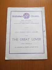 1921 THE GREAT LOVER SHAFTESBURY THEATRE PROGRAMME