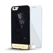 CHINESE DRAGON DESIGN VELVET BLACK & GOLD CASE FOR IPHONE 6S PLUS + GLASS