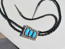 Vintage Navajo & Sleeping Beauty Turquoise Sterling Bolo Tie, signed 'DM'
