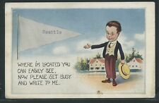 WA Seattle LITHO PC 1916 GRAY PENNANT GREETINGS Please get busy and write to me