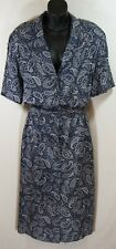 Vintage La Chemise dress 20 Paisley Bandana Blue Button Rockabilly Pin Up USA
