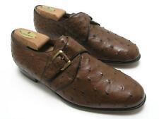 MAGNANNI Ostrich Monk Strap Shoes Tobacco Brown Size 8M Spain