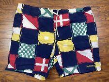 vintage nautica Sailing swim trunks 42x9 blue/red/yellow F3