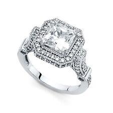 14k White Gold Big Princess CZ Halo Engagement Ring Vintage Style Square CZ Band
