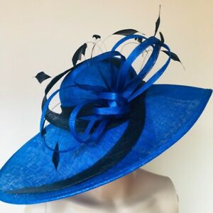 New Royal Blue Black Headband Hat Fascinator Wedding Ladies Race Day Accessories