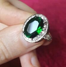 Womans Size P 1/2. Emerald & White Topaz 925 Sterling Silver Plated Ring
