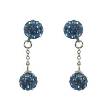Sterling Silver Shamballa Inspired Blue Crystal Disco Balls Dangle Drop Earrings