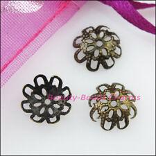 100Pcs Flower End Bead Caps Connectors 10mm Gold Silver Bronze Plated