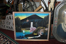 Superb Japanese Painting Mt. Fuji Water Boat Watermill Mountains-Signed-LQQK
