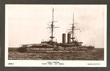 REAL-PHOTO POSTCARD:  H.M.S. DUNCAN - BRITISH ROYAL NAVY BATTLESHIP - Pre-WW-1