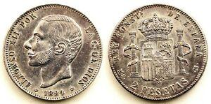 Falsa de epoca. Alfonso XII. 2 pesetas 1884*18-84. EBC/XF. Plateado origial