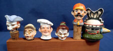 6 Vtg Antique Porcelain Ceramic Figural Liquor Wine Bottle Stopper Pourers Cook