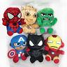 Avengers Plush Soft Toy Set of 6 Hulk Ironman Black Panther Groot Captain Spider