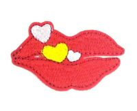 us seller love Heart Tablet red Lips Iron on patch Embroidered Applique 1546