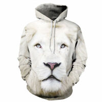 Women's Men's 3D White Lion Graphic Printed Sweatshirt Pullover Hoodies Tops