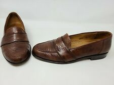 MAGNANNI RAUL BROWN GENUINE LIZARD PENNY LOAFER SLIP ON MENS SHOES SIZE 8.5 M