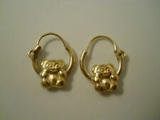 "14K Gold Filled Cuddly Teddy Bear Hoop Earrings .375"" Item #A117"