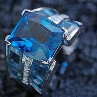 Topas Brillant Ring 9.22 ct TRAUMFARBE 750er Weissgold MASSIV SW ca.1.910.-Euro