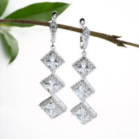 Elegant 925 Silver Princess Cut White Sapphire Long Dangle Drop Earrings Wedding