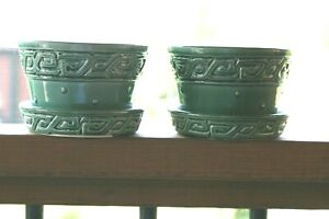 PAIR McCoy Pottery Green Greek Key & Hobnail Planters with Attached Saucer