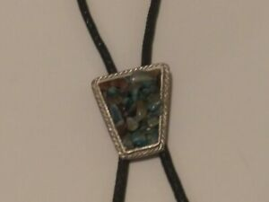 Vintage Bolo Neck Tie Southwest Style Assorted Polished Stone Chips Turquoise-A0