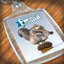 Personalised ICE AGE - SCRAT KEYRING, Lunch Bag, son daughter grandson gift