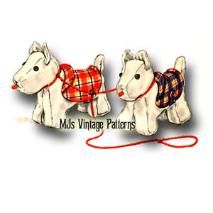 Vintage Stuffed Animal Pattern ~ Pair of Scottie Dogs
