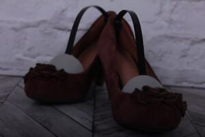 M&S Court Pumps High Heels Burgundy Suede Leather Zip Bow Cone RRP £49 UK 5.5