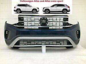 2020-2021 volkswagen atlas and cross sport front bumper (nightingale blue) #4