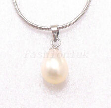 Women 9.5x7.5 mm New White Pearl Bridesmaid Xmas Birthday Necklace Pendant Chain