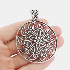 5Pcs Antique Silver Round Filigree Flower Charms Pendants For Necklace Making