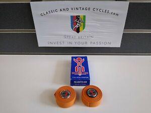 NOS Vintage Saba Cloth Handlebar Tape Orange & Bar Ends  NOS in Packet