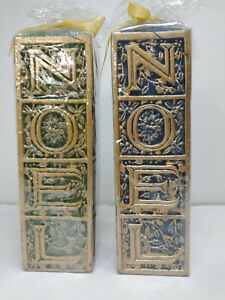 2 Holiday Candles with 3-D design Inscribed NOEL Blue and Green Gold Highlights