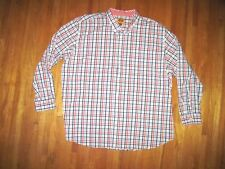Men's Big & Tall Foundry Red/White Plaid Long Sleeve Dress Shirt 4X-Tall New