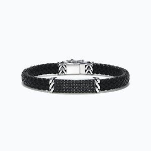 Effy Men's Sterling Silver Black Spinel Leather Bracelet, 2.11 TCW/NEW/Gift