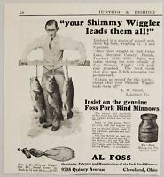 1928 Print Ad AL. Foss Shimmy Wiggler Fishing Lures Pork Rind Cleveland,Ohio
