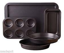Non-Stick Bakeware Set 5 Piece Kitchen Bake Cake Muffin Pan Sheet Carbon Steel