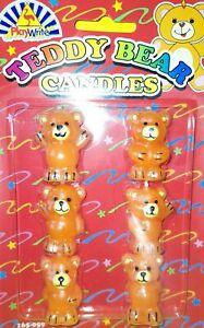 6 X 3d Model Teddy Bears Bnwt Novelty Birthday Cake Candles, teddies, cake fun