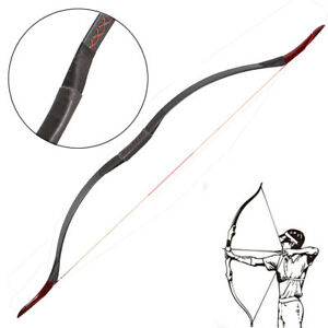 25-55lbs Youth Adult Traditional Recurve Horse Bow 56'' Black Mongolian Longbow