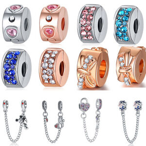 European Silver Charms Safety Chain Clips Beads Xmas Gift S925 Silver Bracelets