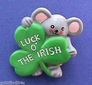 Fun World PIN St Patrick Vintage MOUSE Luck O Irish SHAMROCK Holiday Brooch