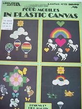 Four Mobiles in Plastic Canvas Pattern Leaflet Balloon Kitten Unicorn Airplane