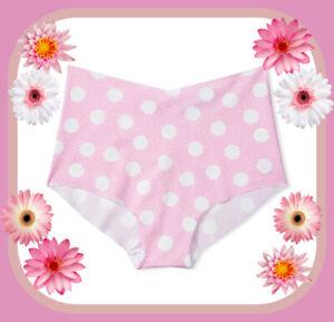 XL Pink w White Dot NO SHOW Edges Victorias Secret High Waist Midi Brief Pantie