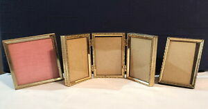 """3 Vintage Small Brass Gold-Tone Picture Frames 3-1/2"""" High 2 Single 1 Tri-Fold"""