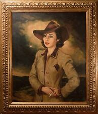 "Beautiful Mid-Century Oil Painting Female Portraitby ""Theodore Werner"" Film Noir"