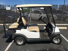 white 2013 club car precedent golf cart 48 volt 48v tan 4 passenger seat lights